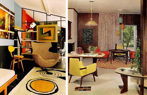 Reincarnation of Unrepeatable: 70s-80s Interior Design in Modern Interiors. Retro styled living rooms