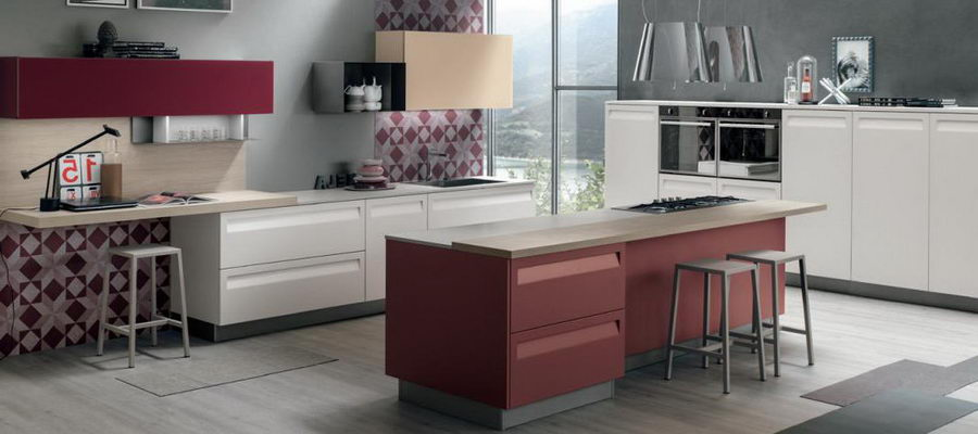 Reincarnation of Unrepeatable: 70s-80s Interior Design in Modern Interiors. Kitchen with the purple colored island