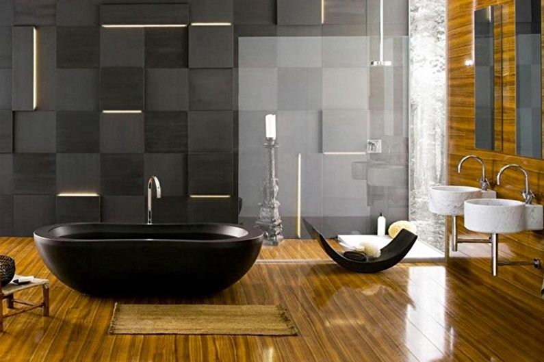 Futuristic wall panels of the modern bathroom in black with laminated floor