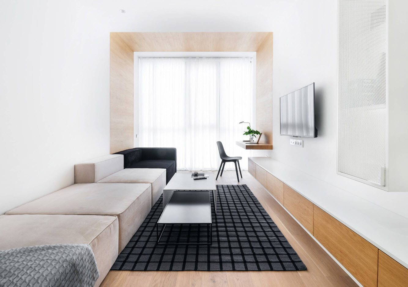 White Living Room: Different Style Interiors with Photos. Black dotted rug and soft corner for galley room