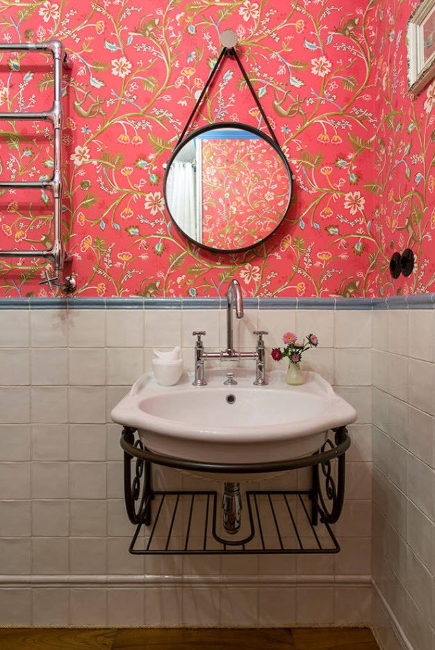 Bathroom Wall Finishing Materials Overview. Classic designed space with red pattern wallpaper