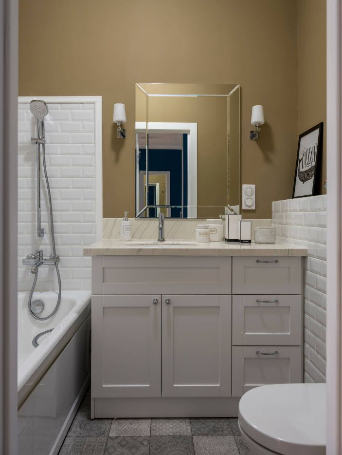 Neat brown walls and gray furniture in classic bathroom