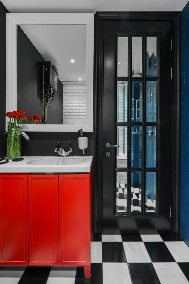 Black Bathroom Interior Design Ideas with Photos and Remodeling Advice. Red vanity facade