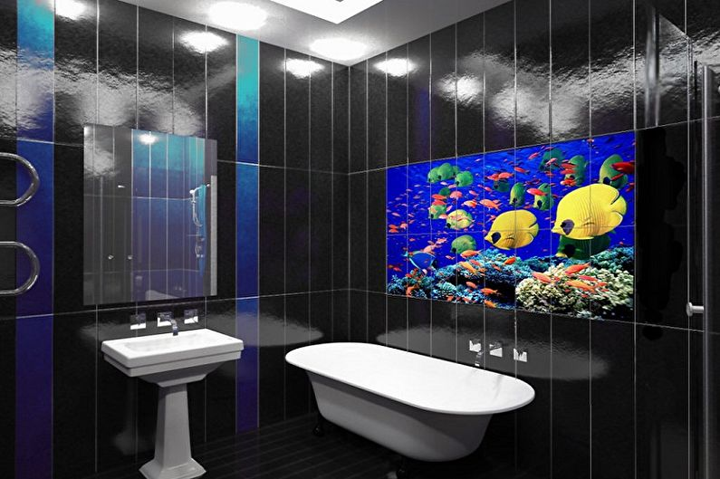 Black Bathroom Interior Design Ideas with Photos and Remodeling Advice. Bright fish theme of the monochromatic space