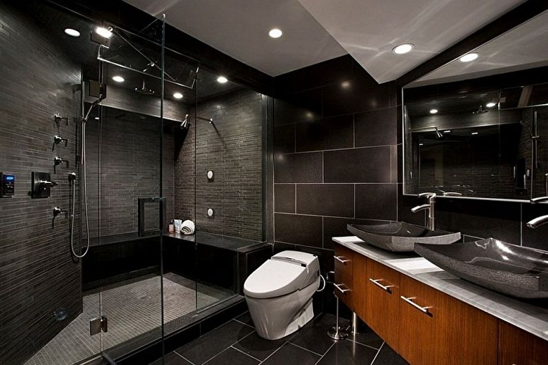 Large black tiles for bathroom walls