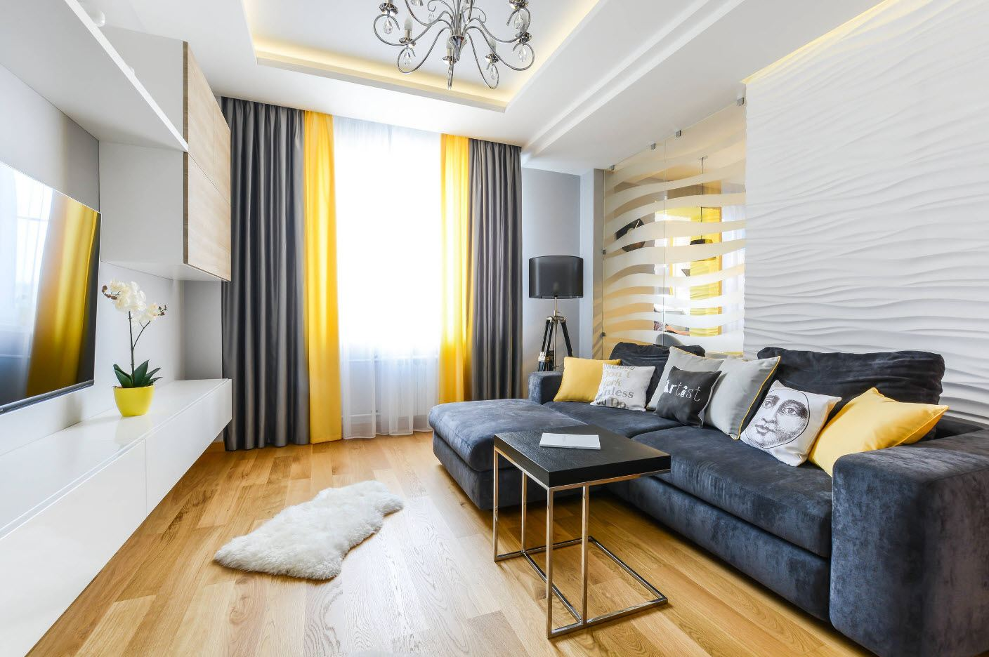 Unexpected union of black white and yellow palette in the modern living room