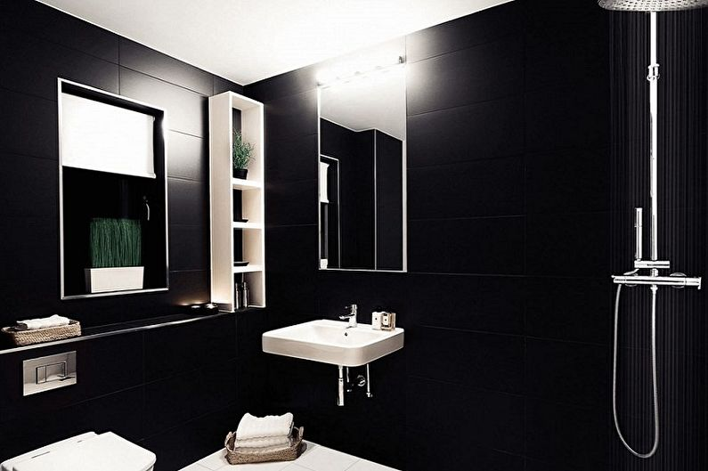 Black Bathroom Interior Design Ideas with Photos and Remodeling Advice. White accents of furniture