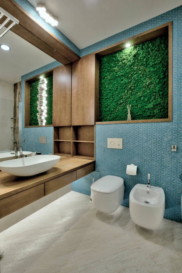 Greenery decoration for ultramodern designed bathroom with bidet and low LED lighting of the sink