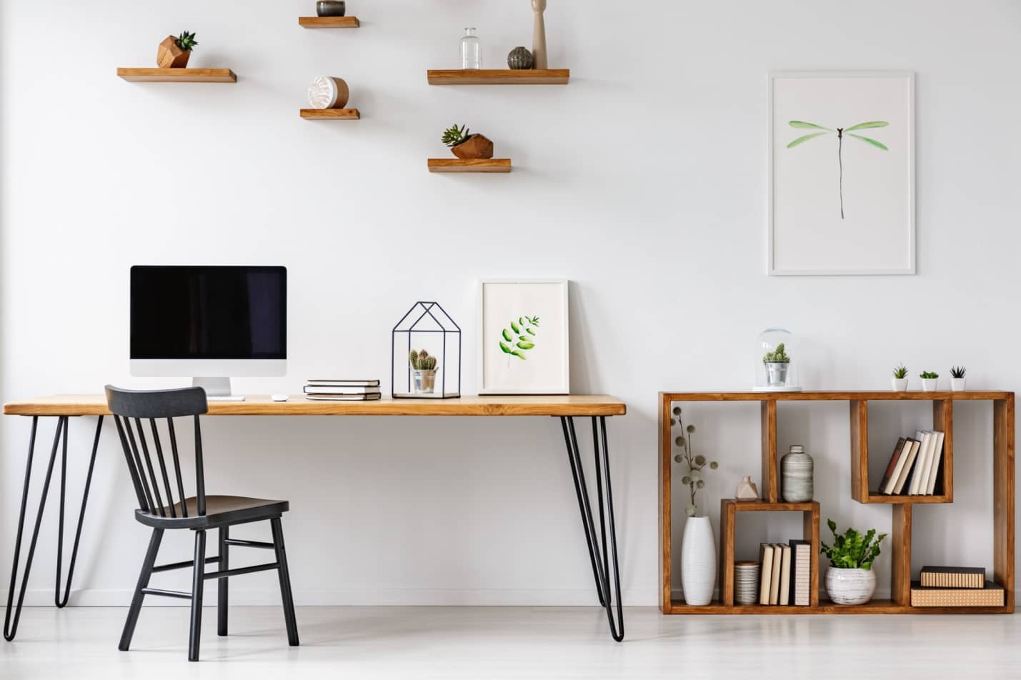 Power and Productivity: Home Office Decorating Ideas that Make Sense. Wooden table for minimalistic Scandi study
