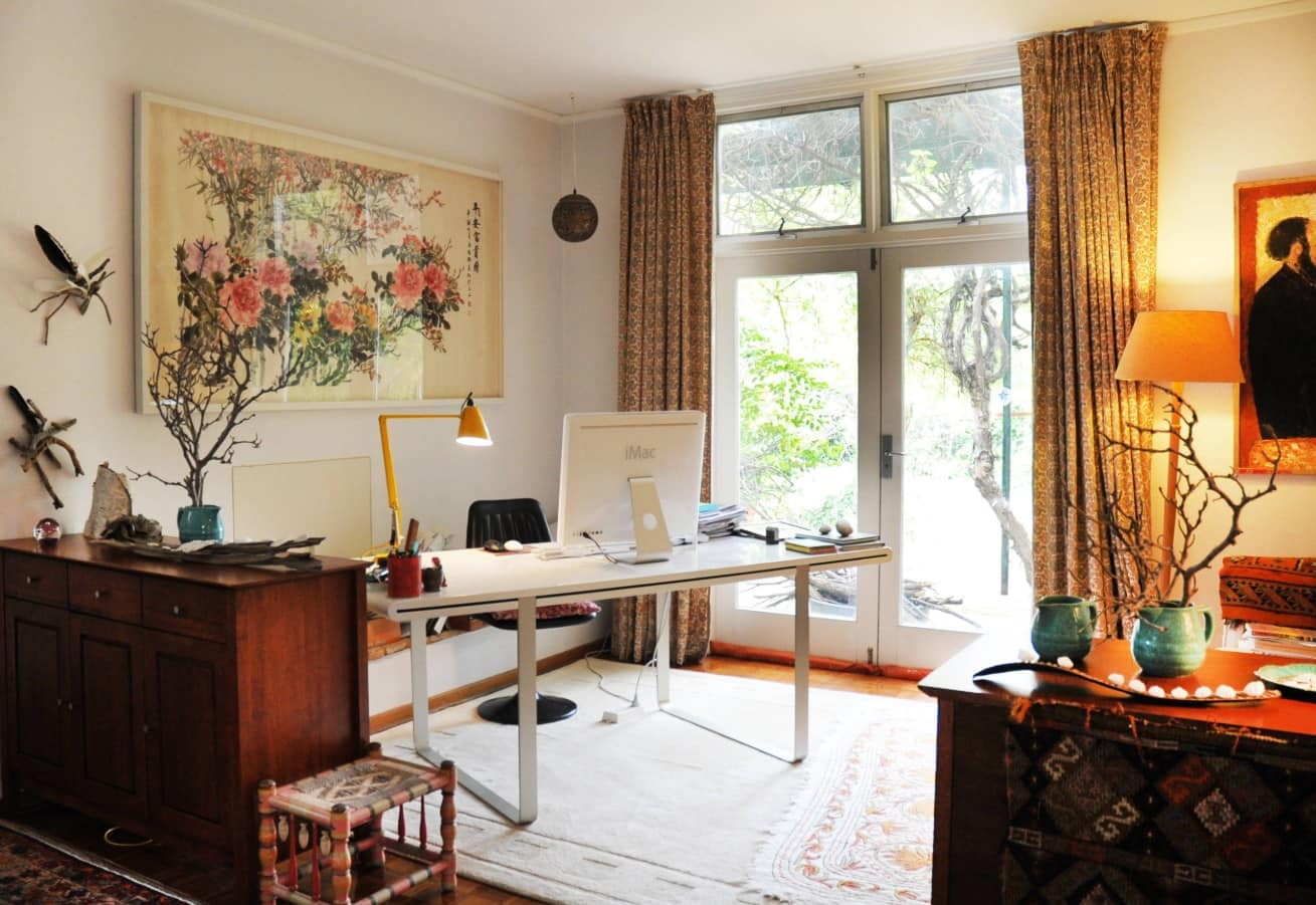 Power and Productivity: Home Office Decorating Ideas that Make Sense. Ecodesign and classics mix within large home office at the house