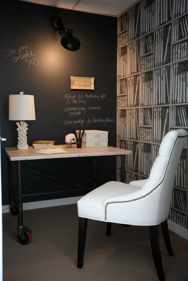 Power and Productivity: Home Office Decorating Ideas that Make Sense. Black writable chalkboard wall for Classic styled office