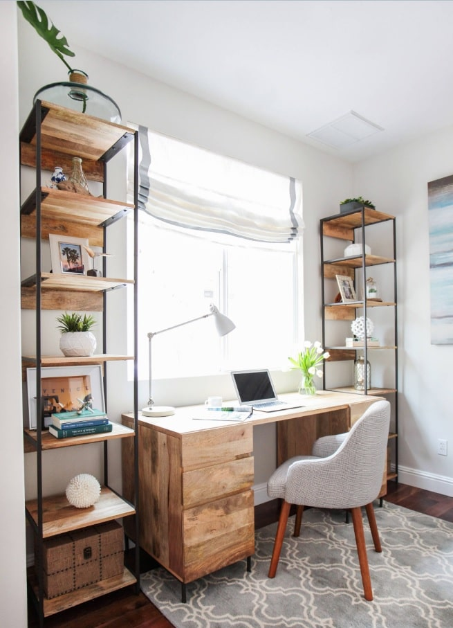 Power and Productivity: Home Office Decorating Ideas that Make Sense. Vertical shelving in Scandinavian style