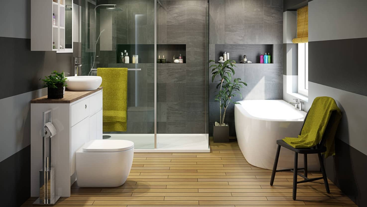 5 Design Ideas that will Make Your Bathroom Beautiful. Luxurious design with laminate and large gray tile