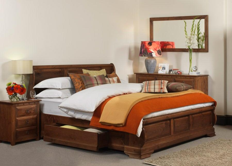 Bed with storage boxes under the king size wooden bed