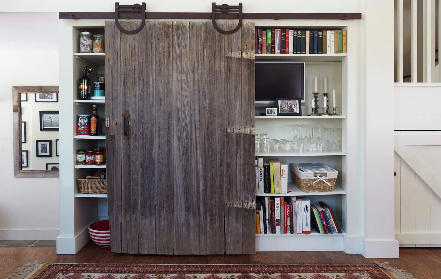 Great Camouflage Storage Ideas For Your Home. Partition barn door for functionality and design