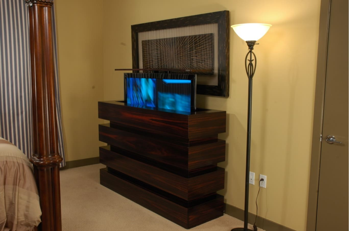 Great Camouflage Storage Ideas For Your Home. Dark wood cabinet for TV