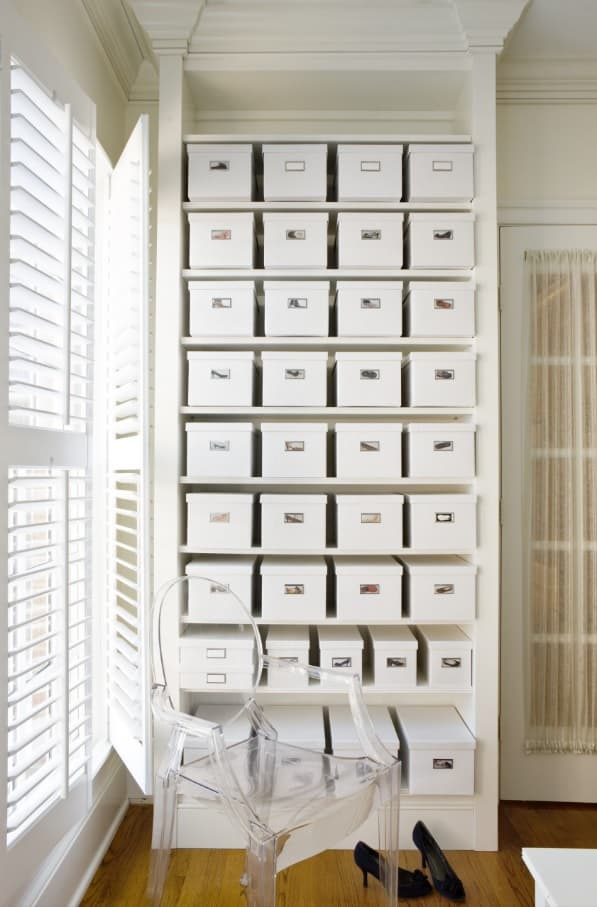 Great Camouflage Storage Ideas For Your Home. Huge bunch of boxes at the shelving