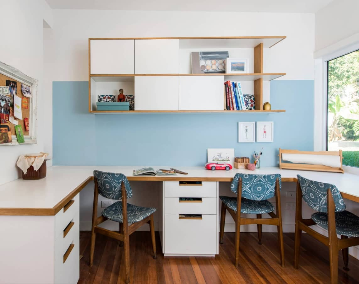 Designing Your Home Office to Keep You Productive. Three work seats at the study room