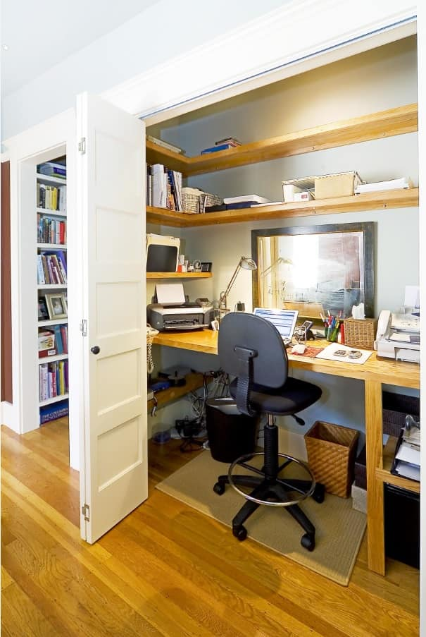 Simple successful design of the home office zoned with sliding doors