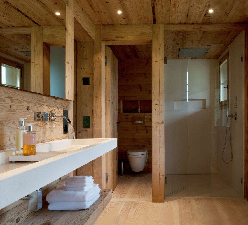 Wooden trimmed bathroom with large sink for two