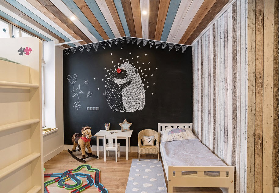 Private House Interior Finishing Ideas. Black accent wall with the bear and colorful ceiling boards