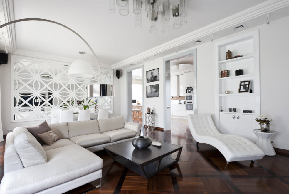 Private House Interior Finishing Ideas. Totally white room with black contrasting coffee table and walnut laquered floor