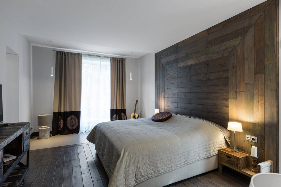 Private House Interior Finishing Ideas. Wooden planked headboard wall of the modern bedroom