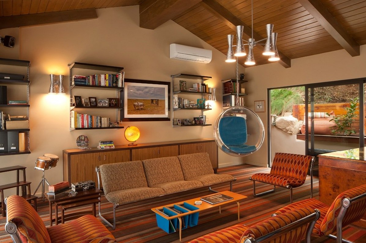 1970s Interior Design Ideas with Photo Examples. Chalet styled living with open ceiling beams