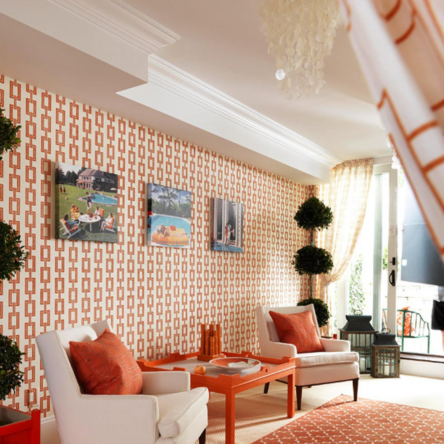 1970s Interior Design Ideas with Photo Examples. Dotted white and red wallpaper for the vintage living with orange coffee table