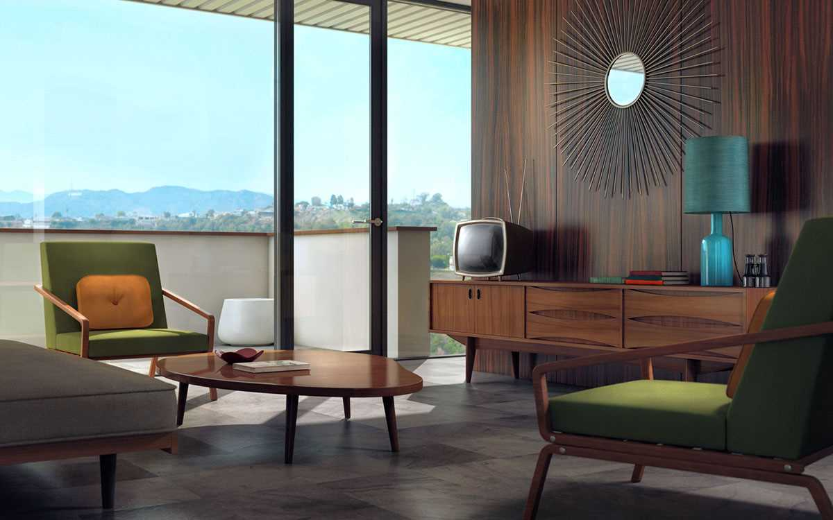 1970s Interior Design Ideas with Photo Examples. Obsolete TV-set and laquered wooden furniture