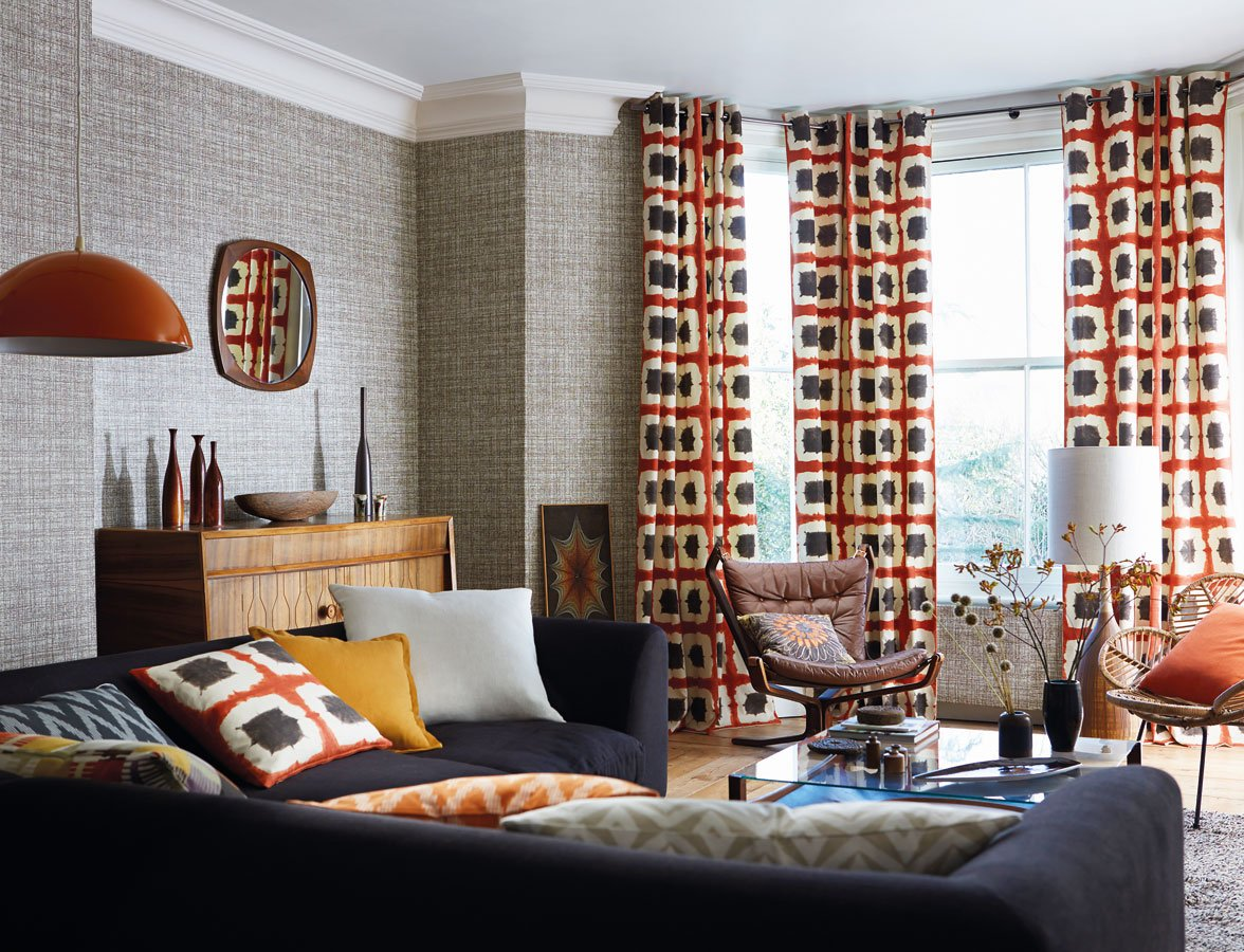 1970s Interior Design Ideas with Photo Examples. Large dotted curtains make all the accent