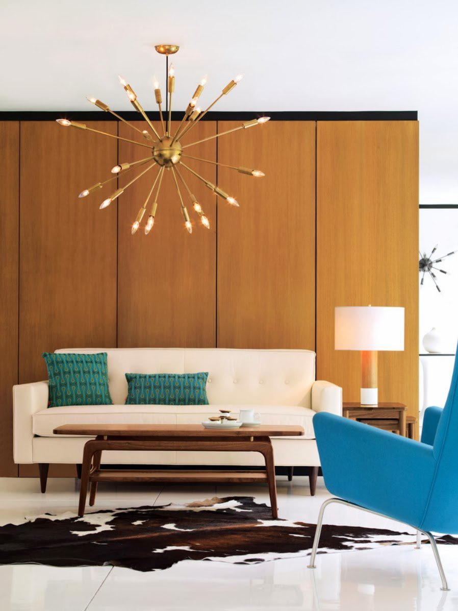 1970s Interior Design Ideas with Photo Examples. Wooden facade of the high furniture set and starburst lamp to decorate living
