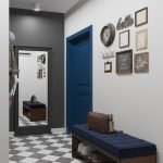 Pictures for decoration the old-fashioned corridor with herringbone tiled floor