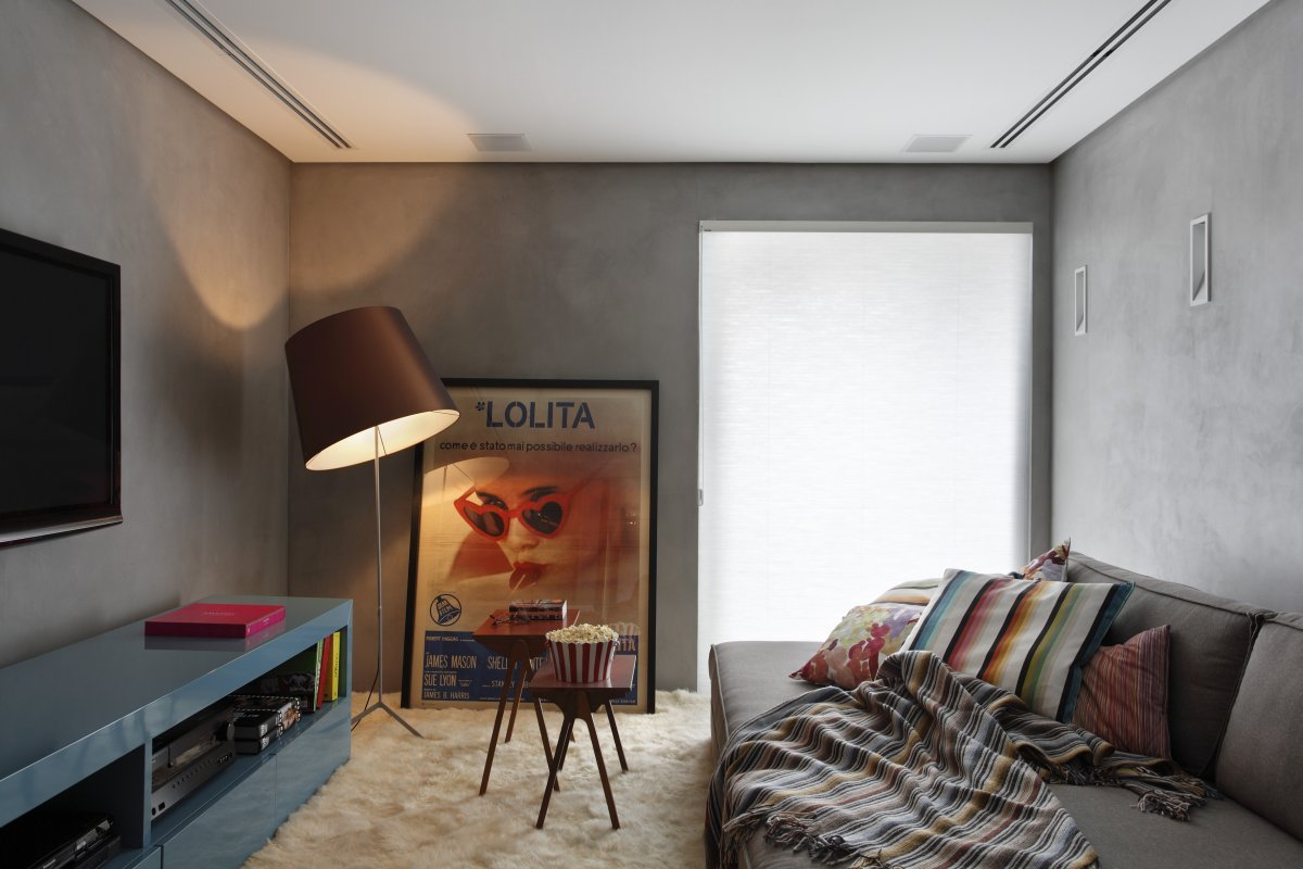 Modern gray walls for retro styled interior of the parlour