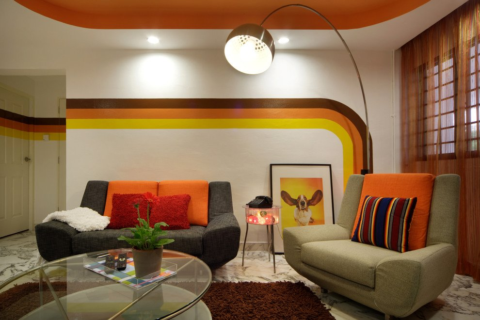 Orange tints for the living room with 1970s interior style