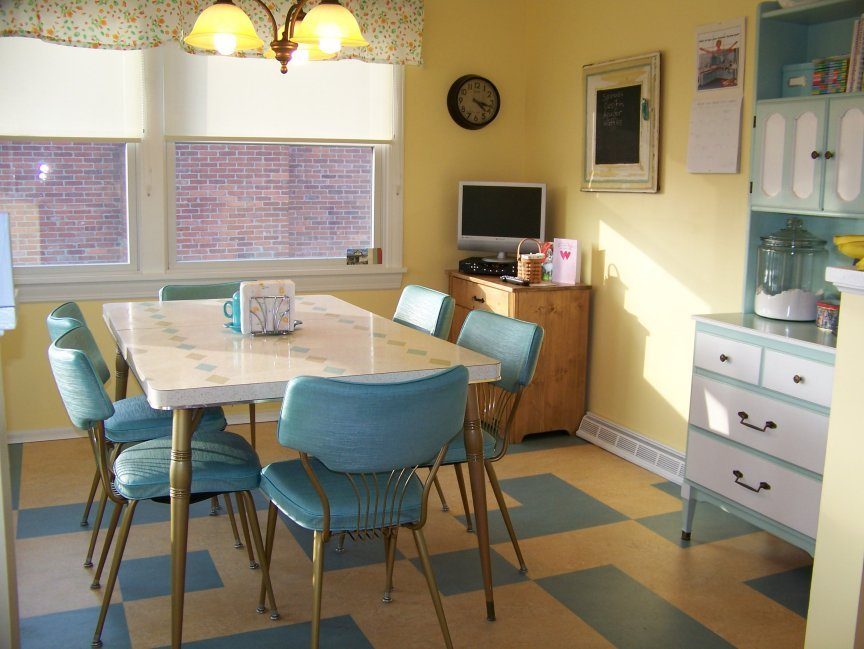 Blue color for the 1970s styled kitchen