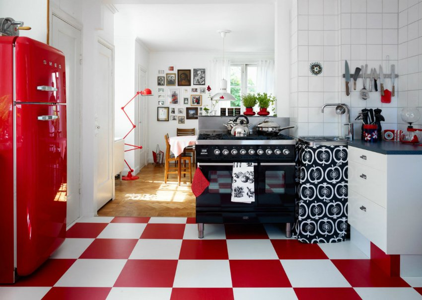 Red and white floor of the retro kitchen