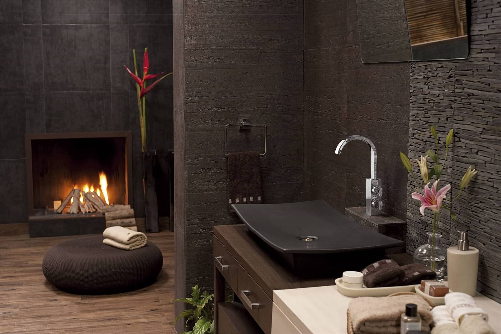 3 Interior Updates That Can Turn Your Bathroom into a 5-Star Spa. Dark modern interior with bowl sink and bent tap