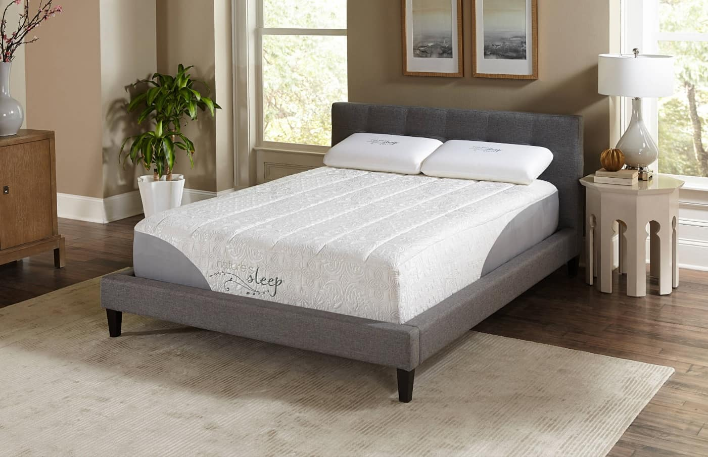 How to Find the Best Foam Mattress. Casual styled bedroom with simple platform bed and high mattress