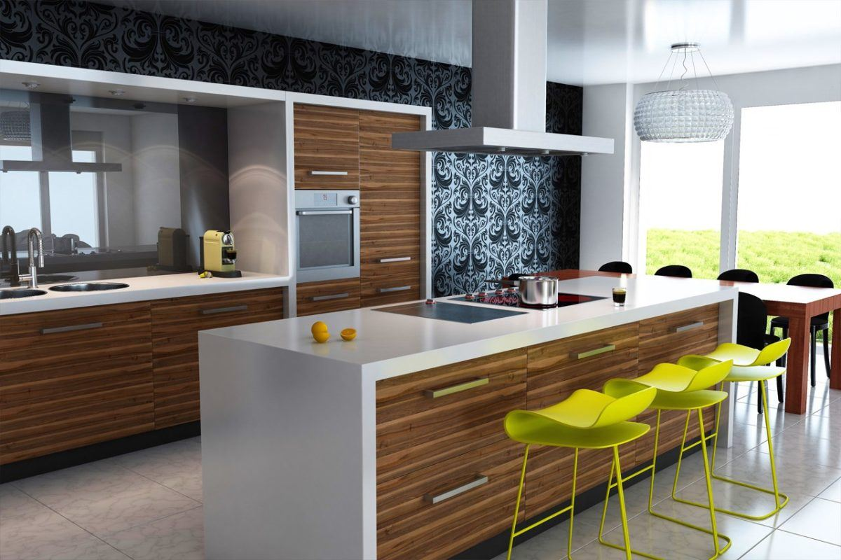 Wood imitating panels of the kitchen and green chairs