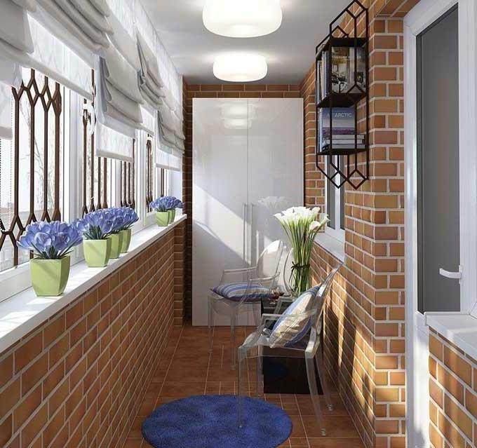 Balcony Curtains: Actual and Fashionable Decoration Ideas. Brickwork at the large loggia