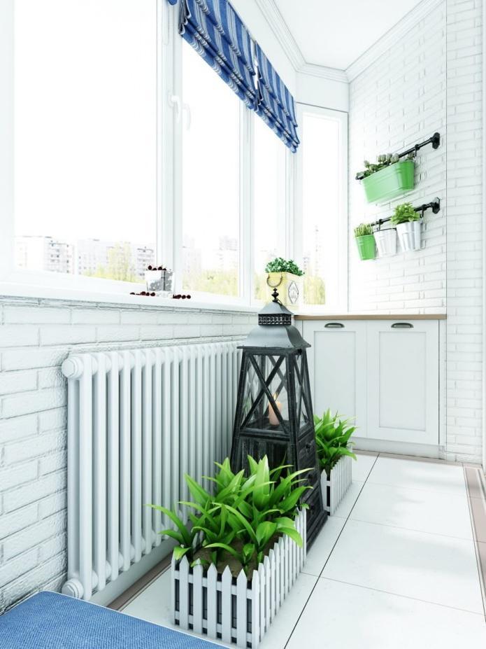 Large radiator and whitewashed brickwork at the balcony