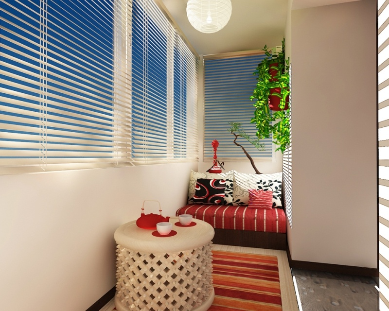 Blinds and cozy sitting zone at the balcony