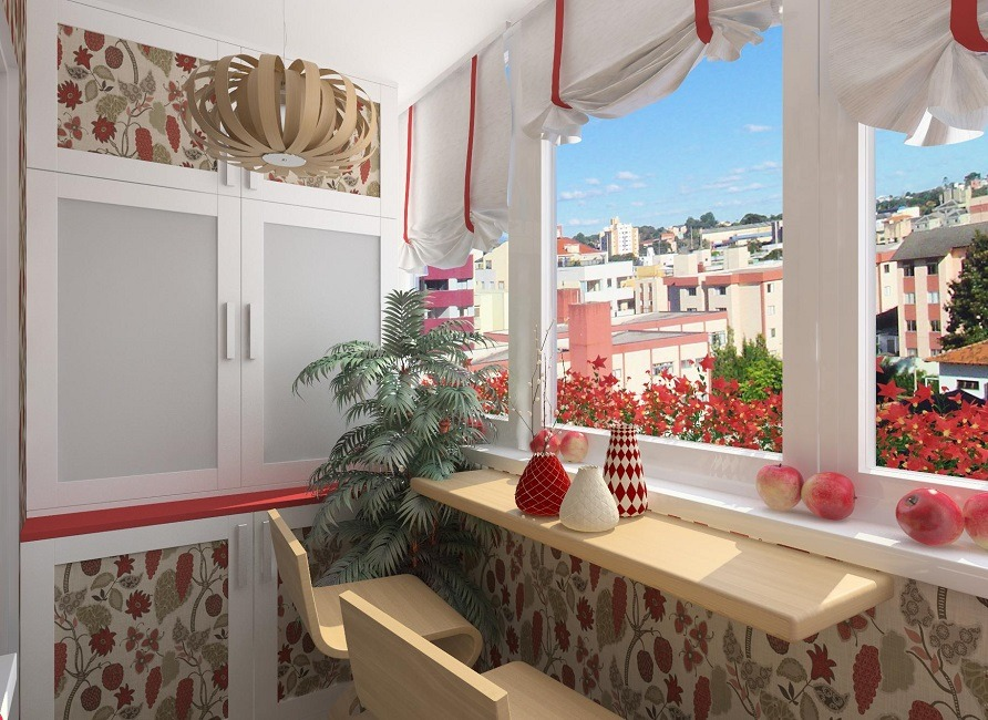 Modern megacity view at the balcony with red colors in decoration