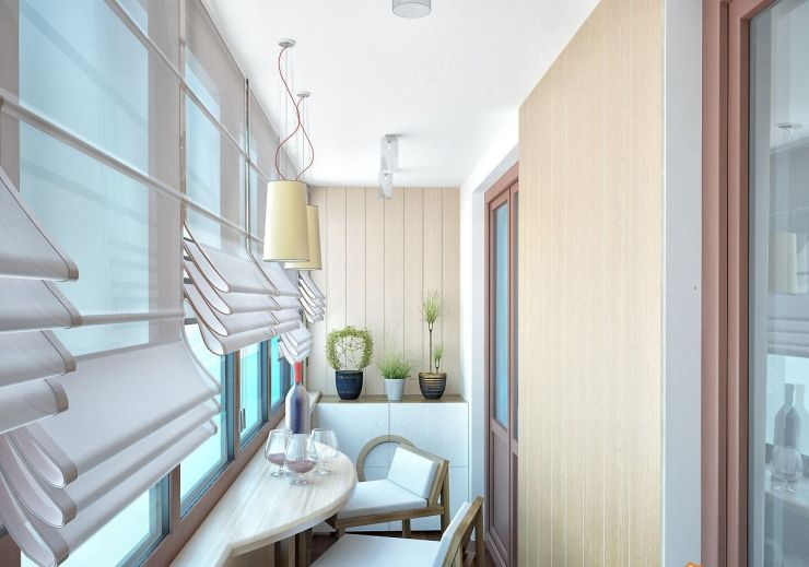 Pleated weaved curtains for modern styled balcony