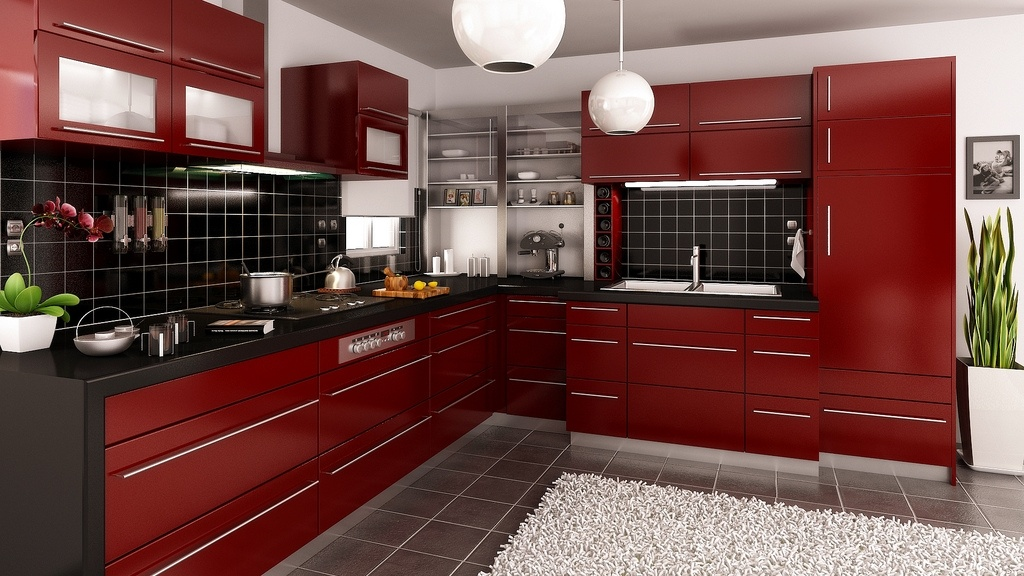 Modern Style Kitchen Design Ideas and Arrangement Advice with Photos. Red sparkling furniture set
