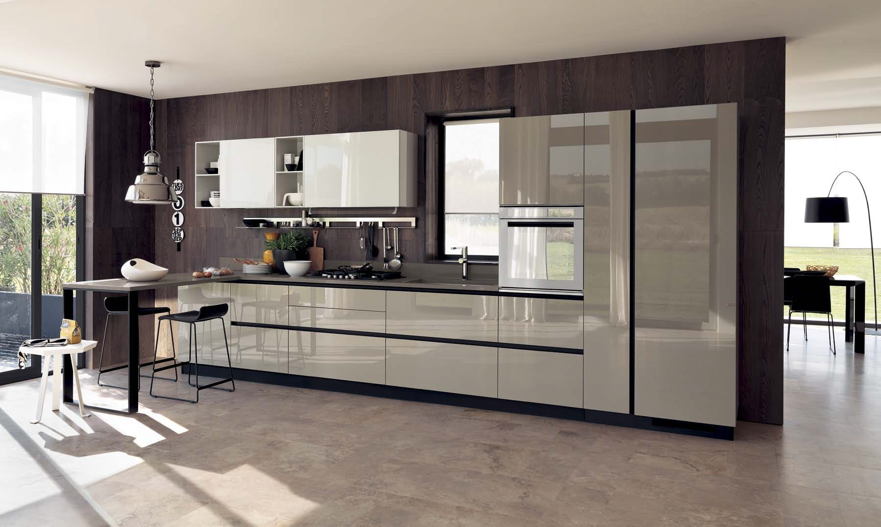 Steel gray surfaces of the kitchen furniture set \