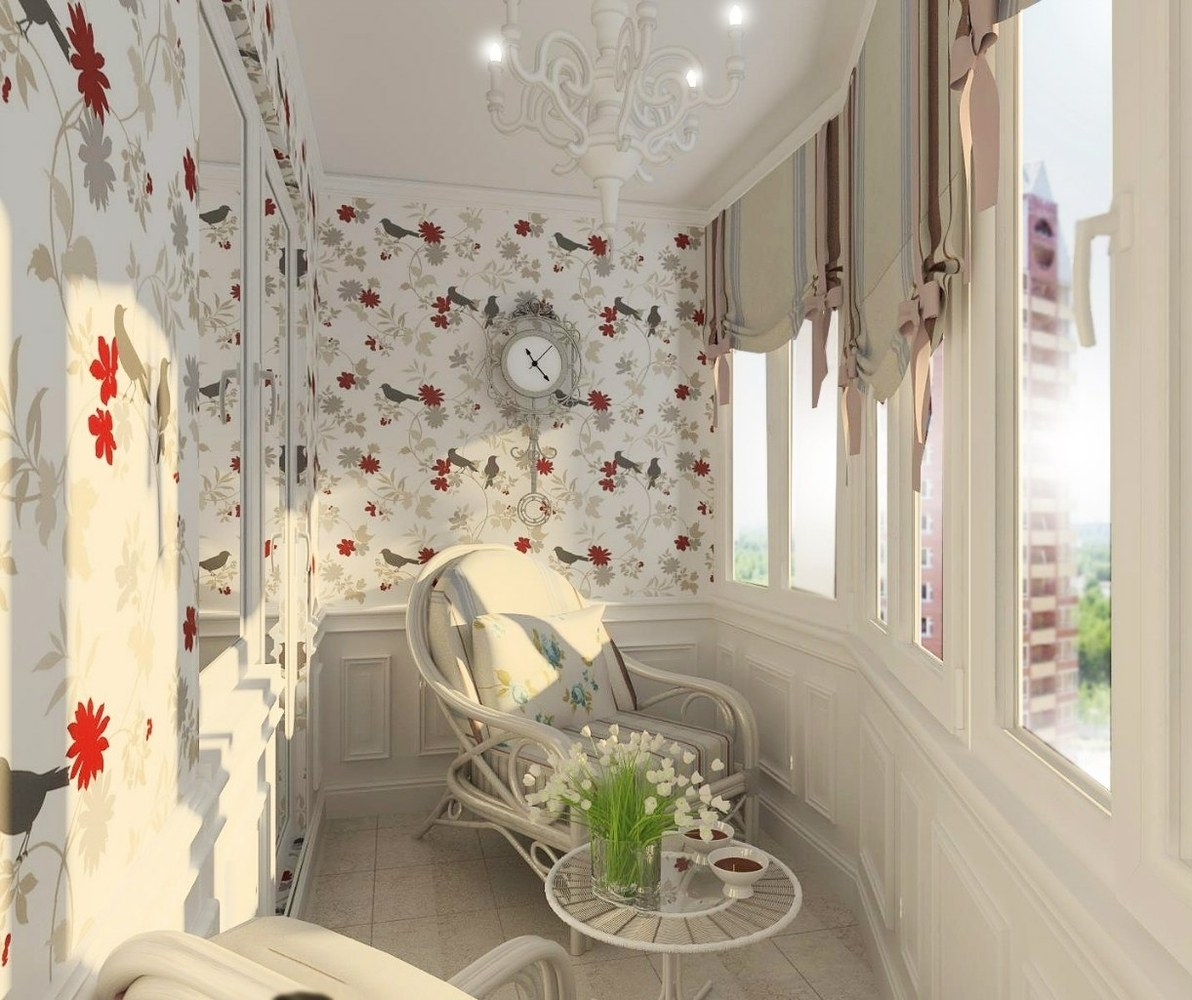 Balcony Curtains: Actual and Fashionable Decoration Ideas. Nice joyful atmosphere at the balcony with colorful wallpaper