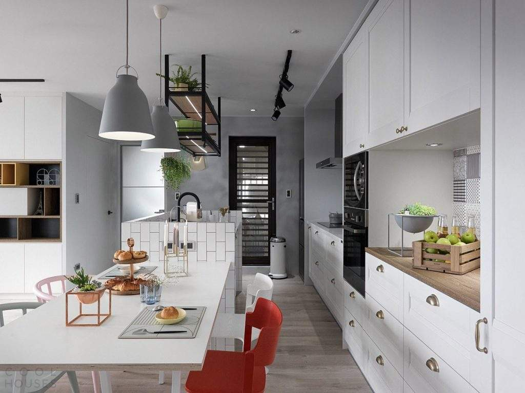 Gray and white color combination for contemporary look of Scandi kitchen