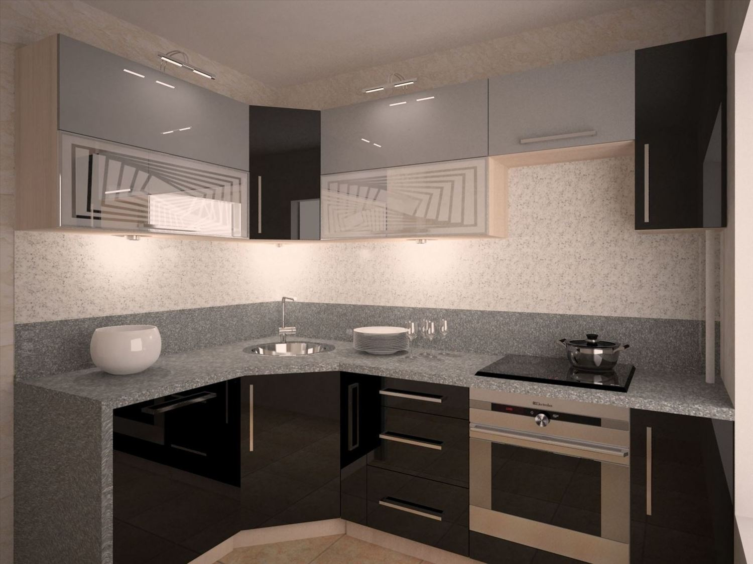 Gray designed interior with black bottom of the L-shaped kitchen